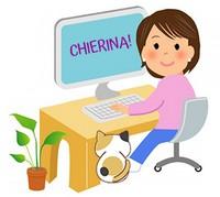 PCに向かう女性と猫
