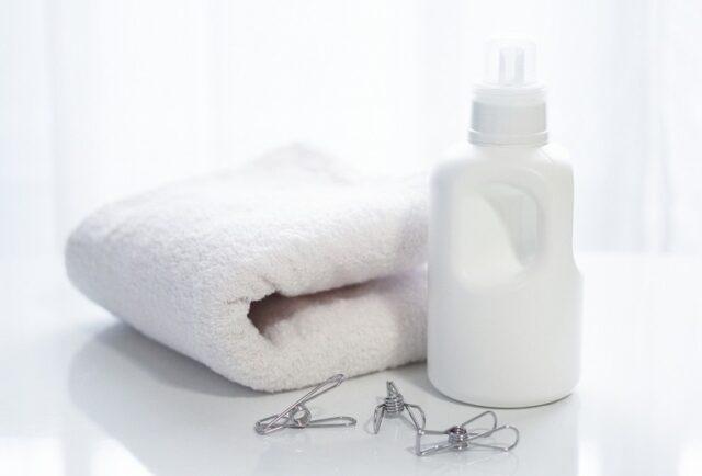 洗濯したタオルと柔軟剤